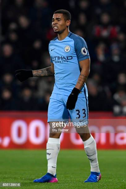 Gabriel Jesus of Manchester City reacts after picking up an injury during the Premier League match between AFC Bournemouth and Manchester City at...