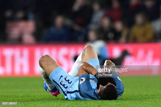 Gabriel Jesus of Manchester City reacts as he lies injured on the turf during the Premier League match between AFC Bournemouth and Manchester City at...