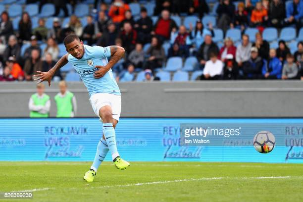 Gabriel Jesus of Manchester City scores his sides first goal during a Pre Season Friendly between Manchester City and West Ham United at the...
