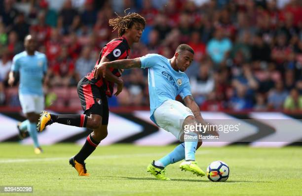 Gabriel Jesus of Manchester City scores his sides first goal during the Premier League match between AFC Bournemouth and Manchester City at Vitality...
