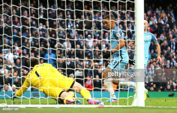 Gabriel Jesus of Manchester City scores his sides second goal during the Premier League match between Manchester City and Swansea City at Etihad...