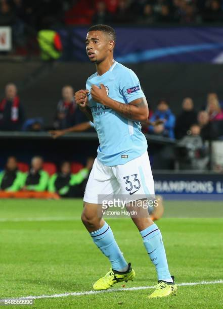 Gabriel Jesus of Manchester City scores his sides third goal during the UEFA Champions League group F match between Feyenoord and Manchester City at...