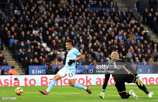 Gabriel Jesus of Manchester City scores the opening goal during the Premier League match between Leicester City and Manchester City at The King Power...