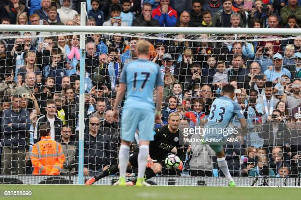 Gabriel Jesus of Manchester City scores the second goal to make the score 20 during the Premier League match between Manchester City and Leicester...
