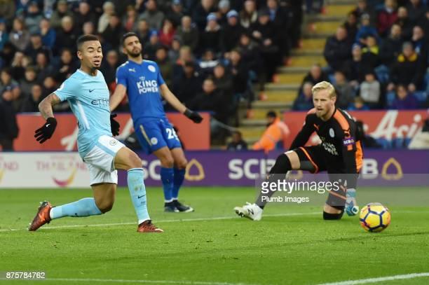 Gabriel Jesus of Manchester City scores to put his team 10 ahead during the Premier League match between Leicester City and Manchester City at The...