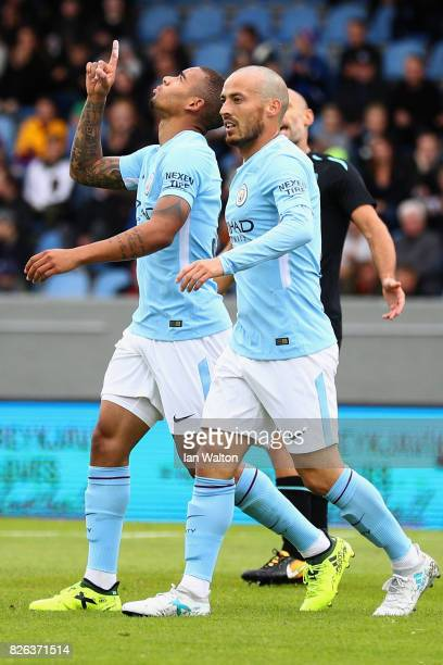 Gabriel Jesus of Manchestr City celebrates scoring his sides first goal with David Silva of Manchester City during a Pre Season Friendly between...