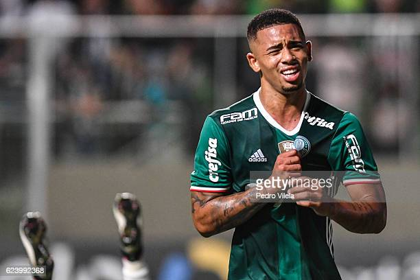 Gabriel Jesus of Palmeiras celebrates a scored goal against Atletico MG during a match between Atletico MG and Palmeiras as part of Brasileirao...