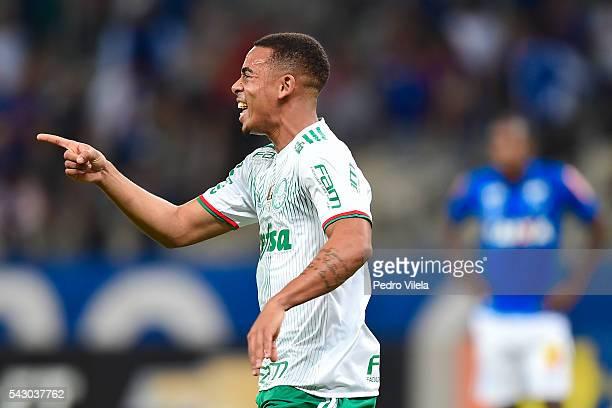 Gabriel Jesus of Palmeiras celebrates a scored goal against Cruzeiro during a match between Palmeiras and Cruzeiro as part of Brasileirao Series A...