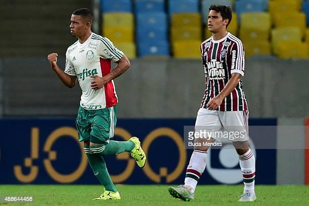 Gabriel Jesus of Palmeiras celebrates a scored goal during a match between Fluminense and Palmeiras as part of Brasileirao Series A 2015 at Maracana...