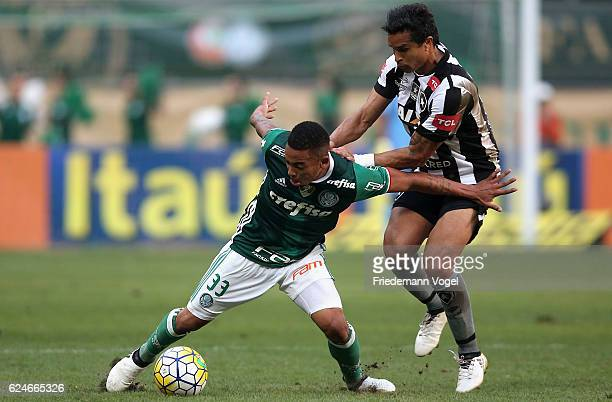 Gabriel Jesus of Palmeiras fights for the ball with Dudu Cearense of Botafogo during the match between Palmeiras and Botafogo for the Brazilian...