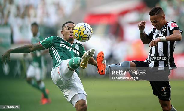 Gabriel Jesus of Palmeiras fights for the ball with Neilton of Botafogo during the match between Palmeiras and Botafogo for the Brazilian Series A...