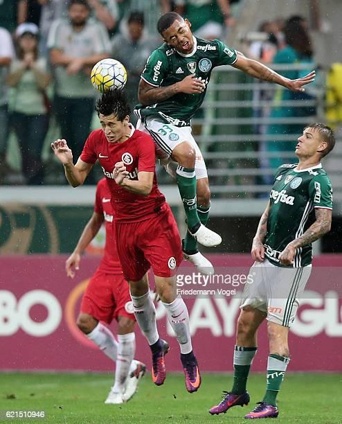 Gabriel Jesus of Palmeiras fights for the ball with Rodrigo Dourado of Internacional during the match between Palmeiras and Internacional for the...