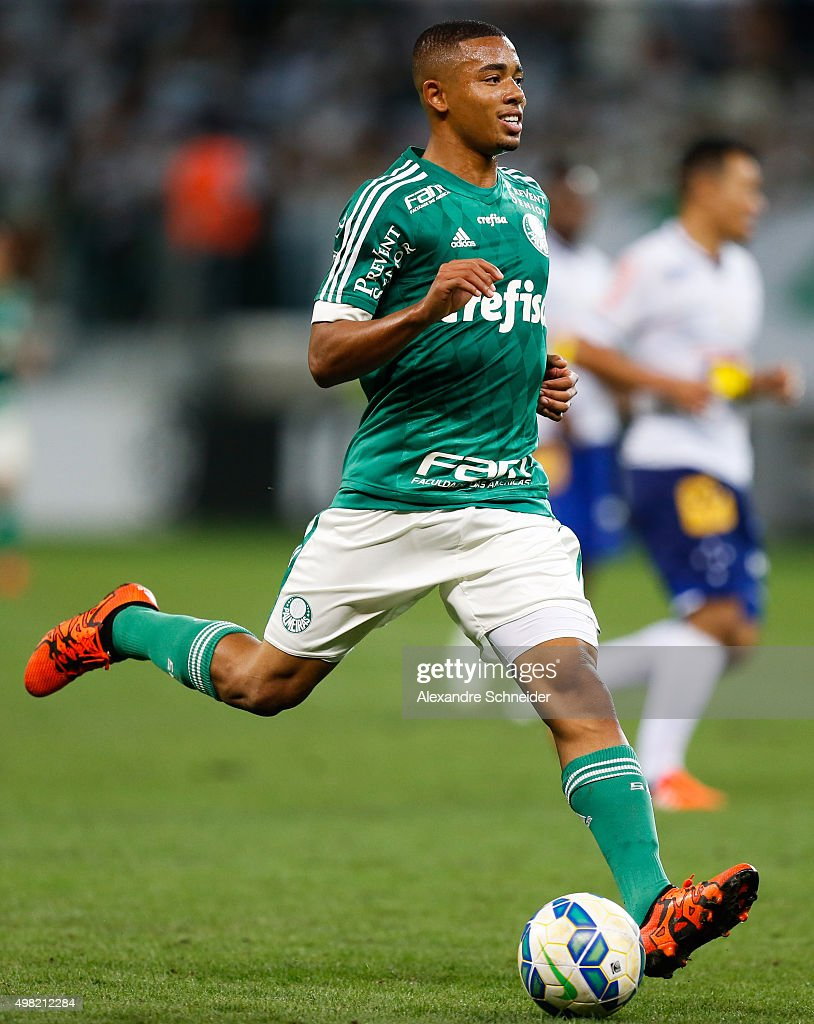 Gabriel Jesus of Palmeiras in action during the match between Palmeiras and Cruzeiro for the Brazilian Series A 2015 at Allianz Parque stadium on November 21 , 2015 in Sao Paulo, Brazil.