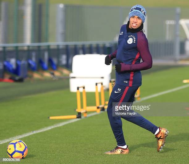 Gabriel Jesus reacts during training at Manchester City Football Academy on December 12 2017 in Manchester England