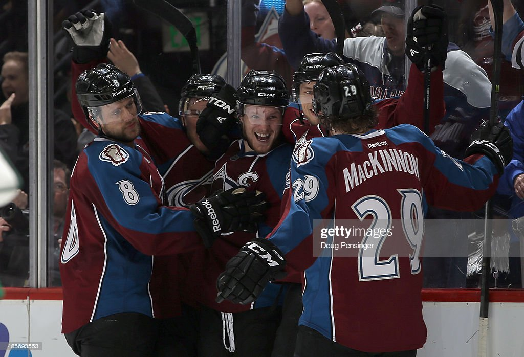 <a gi-track='captionPersonalityLinkClicked' href=/galleries/search?phrase=Gabriel+Landeskog&family=editorial&specificpeople=6590816 ng-click='$event.stopPropagation()'>Gabriel Landeskog</a> (C) #92 of the Colorado Avalanche celebrates his goal against the Minnesota Wild to take a 2-1 lead in the second period of Game Two of the First Round of the 2014 NHL Stanley Cup Playoffs at Pepsi Center on April 19, 2014 in Denver, Colorado.