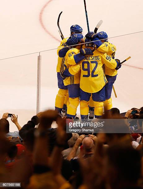 Gabriel Landeskog of Team Sweden celebrates his second period goal while playing Team Russia during the World Cup of Hockey at the Air Canada Center...