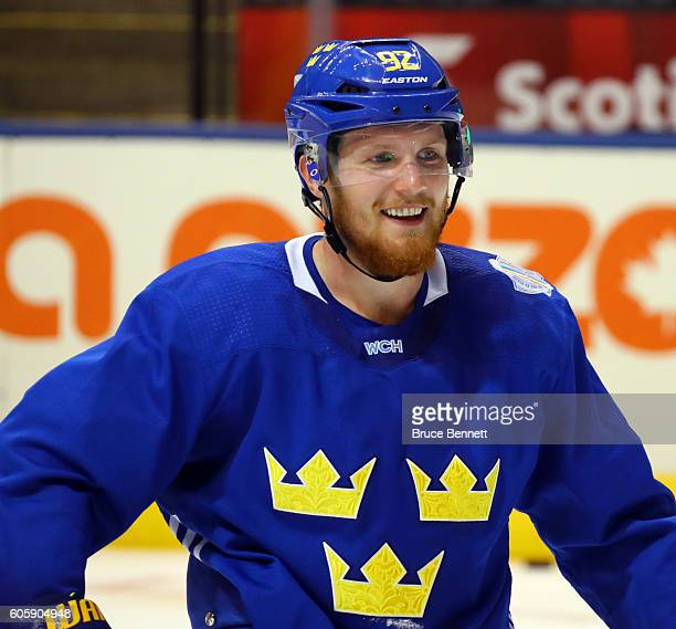 Gabriel Landeskog of Team Sweden takes a break at practice during the World Cup of Hockey 2016 at Air Canada Centre in Toronto Ontario Canada on...