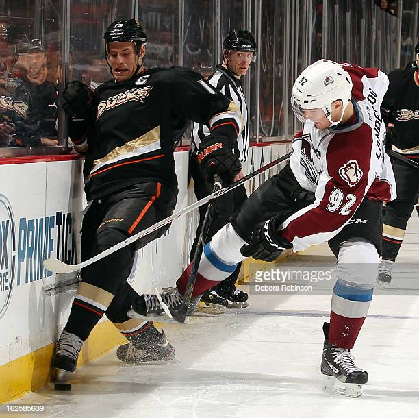 Gabriel Landeskog of the Colorado Avalanche battles for the puck against Ryan Getzlaf of the Anaheim Ducks on February 24 2013 at Honda Center in...