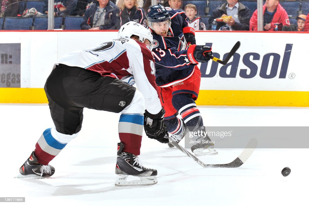 <a gi-track='captionPersonalityLinkClicked' href=/galleries/search?phrase=Gabriel+Landeskog&family=editorial&specificpeople=6590816 ng-click='$event.stopPropagation()'>Gabriel Landeskog</a> #92 of the Colorado Avalanche breaks his stick while attempting to block the shot from Cam Atkinson #13 of the Columbus Blue Jackets during the first period on February 24, 2012 at Nationwide Arena in Columbus, Ohio.