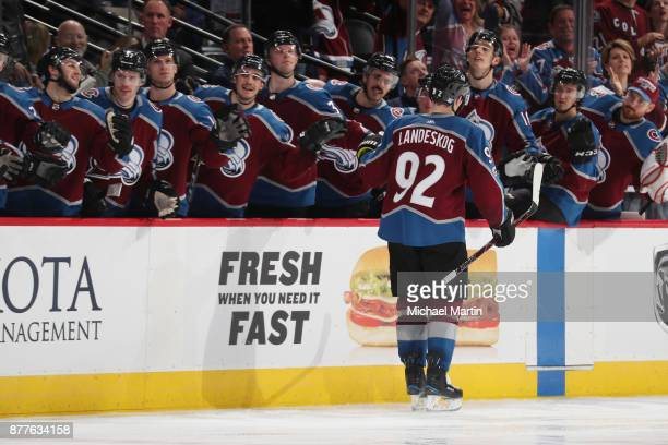 Gabriel Landeskog of the Colorado Avalanche celebrates a goal against the Dallas Stars with his bench at the Pepsi Center on November 22 2017 in...