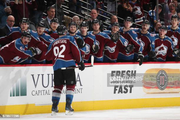 Gabriel Landeskog of the Colorado Avalanche celebrates a goal with teammates against the Dallas Stars at the Pepsi Center on November 22 2017 in...