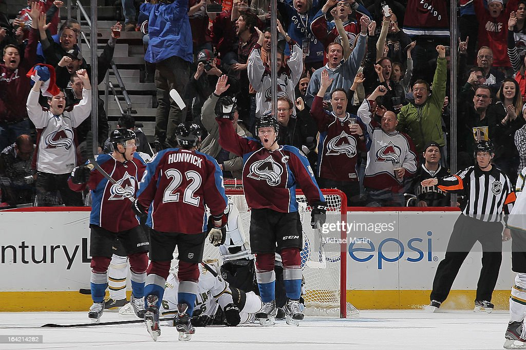 <a gi-track='captionPersonalityLinkClicked' href=/galleries/search?phrase=Gabriel+Landeskog&family=editorial&specificpeople=6590816 ng-click='$event.stopPropagation()'>Gabriel Landeskog</a> #92 of the Colorado Avalanche celebrates a short handed goal against the Dallas Stars at the Pepsi Center on March 20, 2013 in Denver, Colorado.