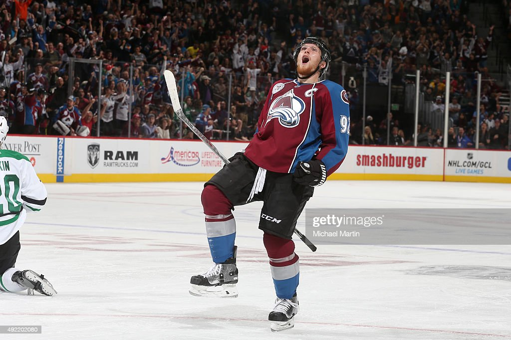 <a gi-track='captionPersonalityLinkClicked' href=/galleries/search?phrase=Gabriel+Landeskog&family=editorial&specificpeople=6590816 ng-click='$event.stopPropagation()'>Gabriel Landeskog</a> #92 of the Colorado Avalanche celebrates after his goal against the Dallas Stars at the Pepsi Center on October 10, 2015 in Denver, Colorado.