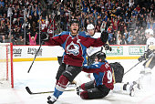 Gabriel Landeskog of the Colorado Avalanche celebrates after scoring against the Pittsburgh Penguins at the Pepsi Center on March 4 2015 in Denver...