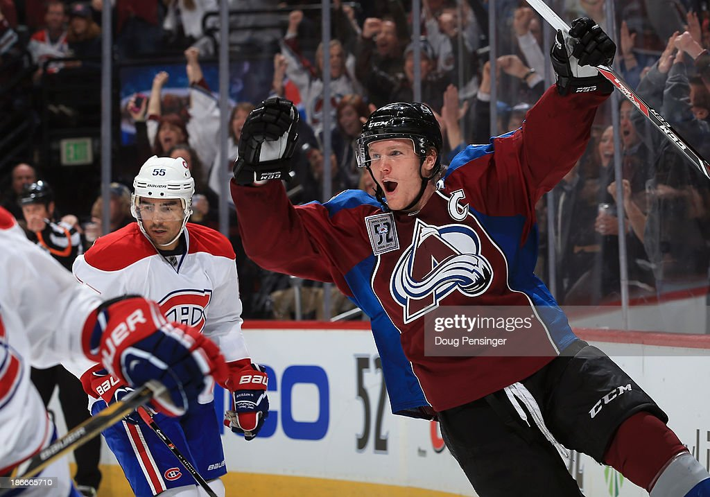 <a gi-track='captionPersonalityLinkClicked' href=/galleries/search?phrase=Gabriel+Landeskog&family=editorial&specificpeople=6590816 ng-click='$event.stopPropagation()'>Gabriel Landeskog</a> #92 of the Colorado Avalanche celebrates his goal against the Montreal Canadiens to give the Avalanche a 1-0 lead in the second period at Pepsi Center on November 2, 2013 in Denver, Colorado.