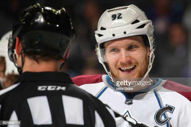Gabriel Landeskog of the Colorado Avalanche exchanges words with referee Chris Lee at the Barclays Center on February 12 2017 in Brooklyn borough of...