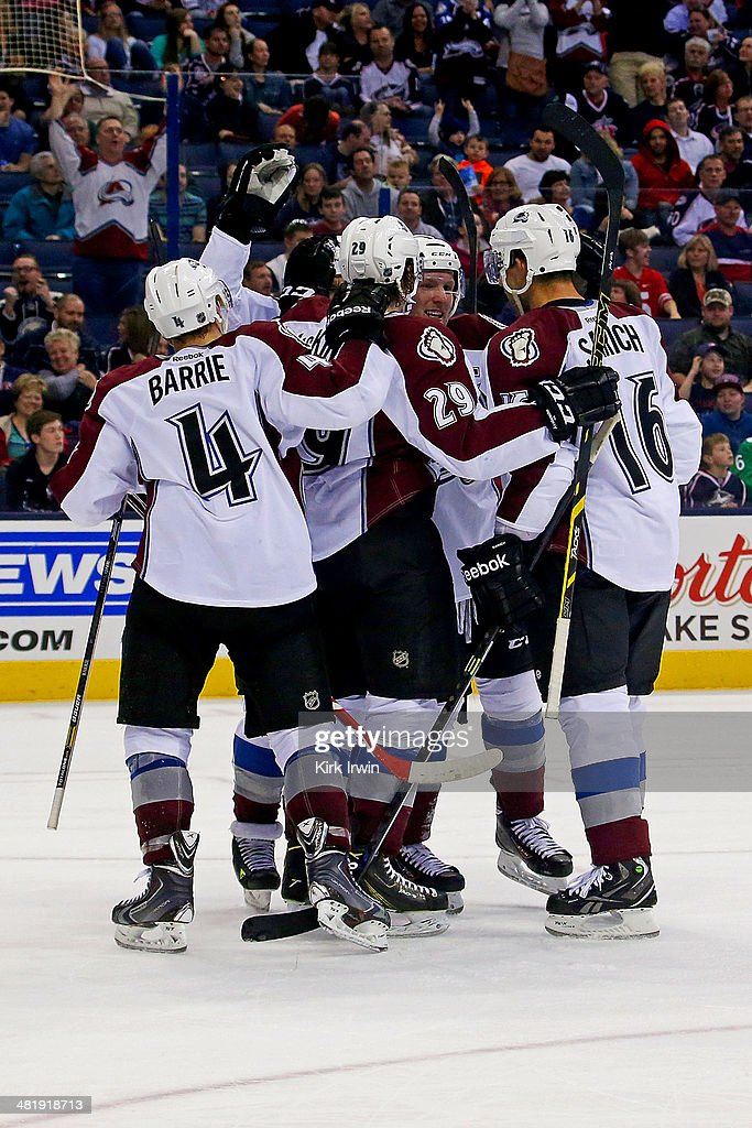 Gabriel Landeskog #92 of the Colorado Avalanche is congratulated after scoring a goal against the Columbus Blue Jackets during the second period on April 1, 2014 at Nationwide Arena in Columbus, Ohio. Colorado defeated Columbus 3-2 in overtime.