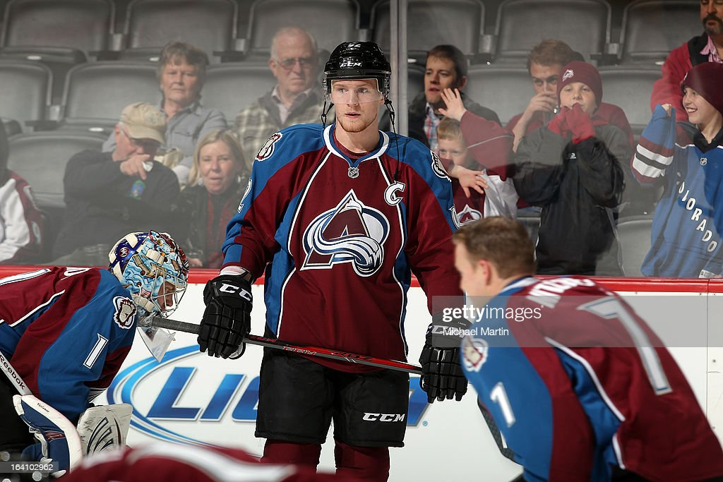 Gabriel Landeskog #92 of the Colorado Avalanche looks on during warm ups against the Chicago Blackhawks at the Pepsi Center on March 18, 2013 in Denver, Colorado.