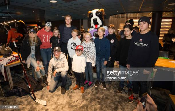 Gabriel Landeskog of the Colorado Avalanche meets with a kids from the Swedish Childhood Cancer Foundation at the Ericsson Globe on November 7 2017...