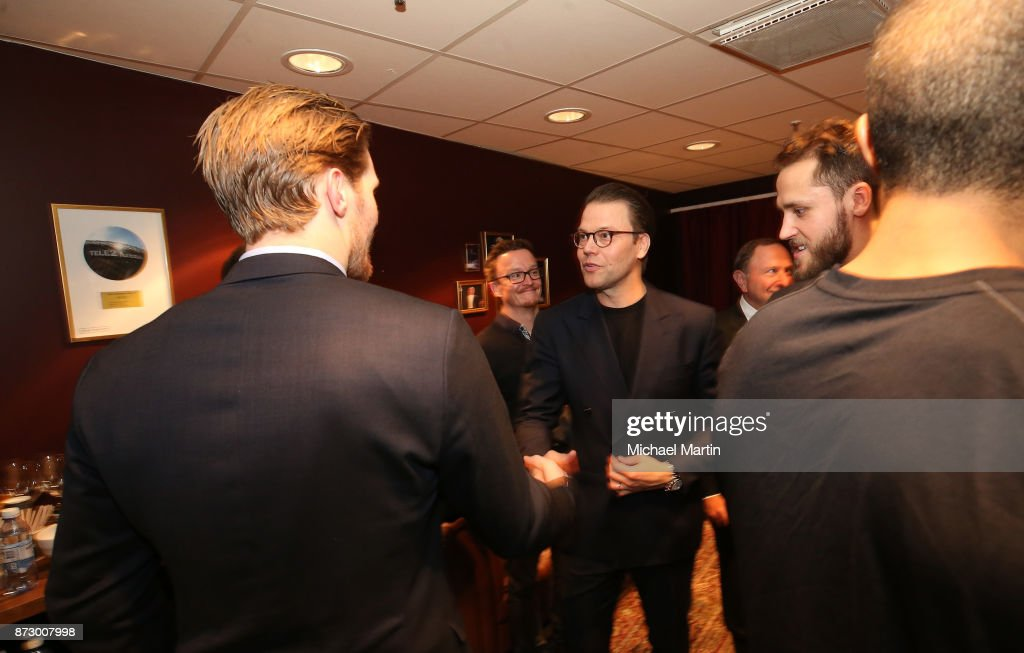 Gabriel Landeskog #92 of the Colorado Avalanche meets with Prince Daniel, Duke of Vastergotland after the game against the Ottawa Senators at the Ericsson Globe on November 11, 2017 in Stockholm, Sweden.