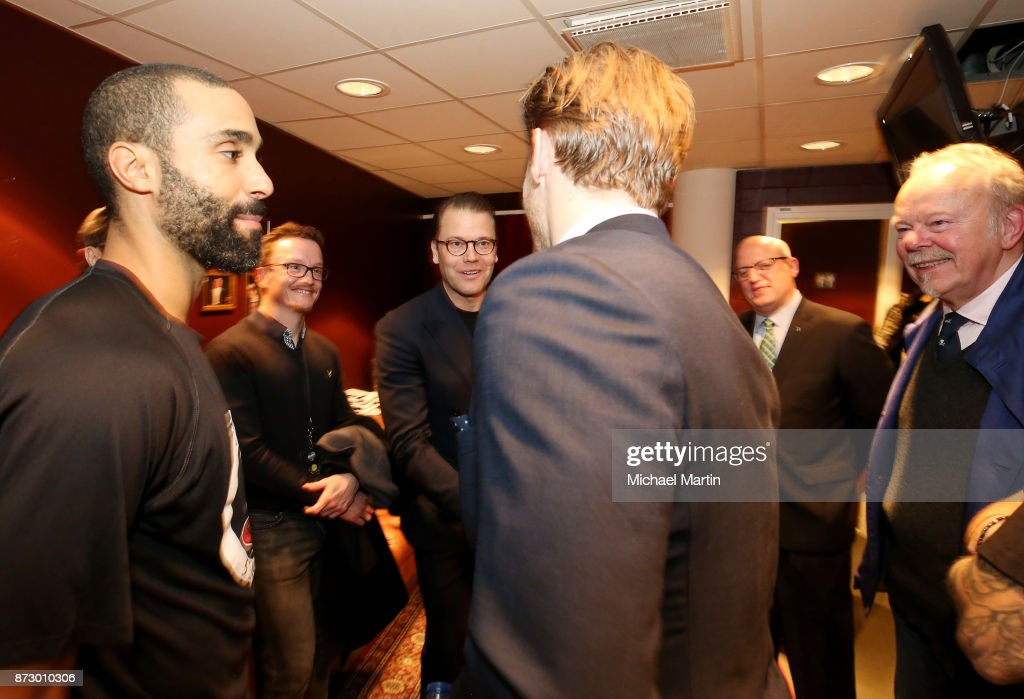 Gabriel Landeskog #92 of the Colorado Avalanche meets with Prince Daniel, Duke of Vastergotland, along with Bill Daly, Thomas Johansson and Jonny Oduya #29 of the Ottawa Senators at the Ericsson Globe on November 11, 2017 in Stockholm, Sweden.