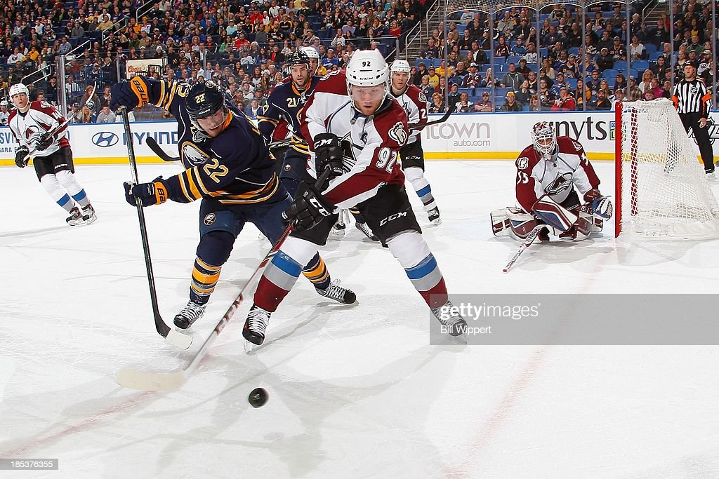 <a gi-track='captionPersonalityLinkClicked' href=/galleries/search?phrase=Gabriel+Landeskog&family=editorial&specificpeople=6590816 ng-click='$event.stopPropagation()'>Gabriel Landeskog</a> #22 of the Colorado Avalanche reaches for the puck against Johan Larsson #22 of the Buffalo Sabres on October 19, 2013 at the First Niagara Center in Buffalo, New York. Colorado won, 4-2.