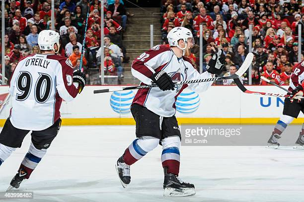 Gabriel Landeskog of the Colorado Avalanche reacts after scoring against the Chicago Blackhawks in the third period during the NHL game at the United...