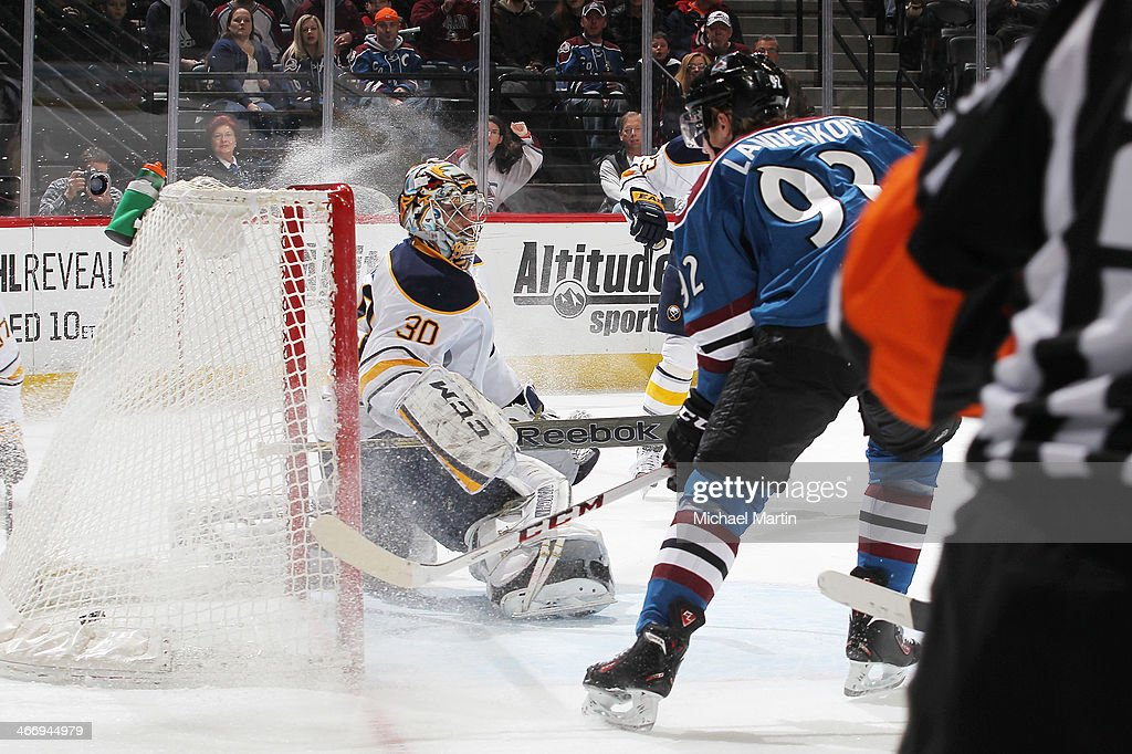 Gabriel Landeskog #92 of the Colorado Avalanche scores a goal against goaltender Ryan Miller #30 the Buffalo Sabres at the Pepsi Center on February 1, 2014 in Denver, Colorado. The Avalanche defeated the Sabres 7-1.