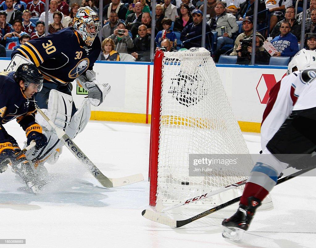 Gabriel Landeskog #92 of the Colorado Avalanche scores past Ryan Miller #30 of the Buffalo Sabres at First Niagara Center on October 19, 2013 in Buffalo, New York.