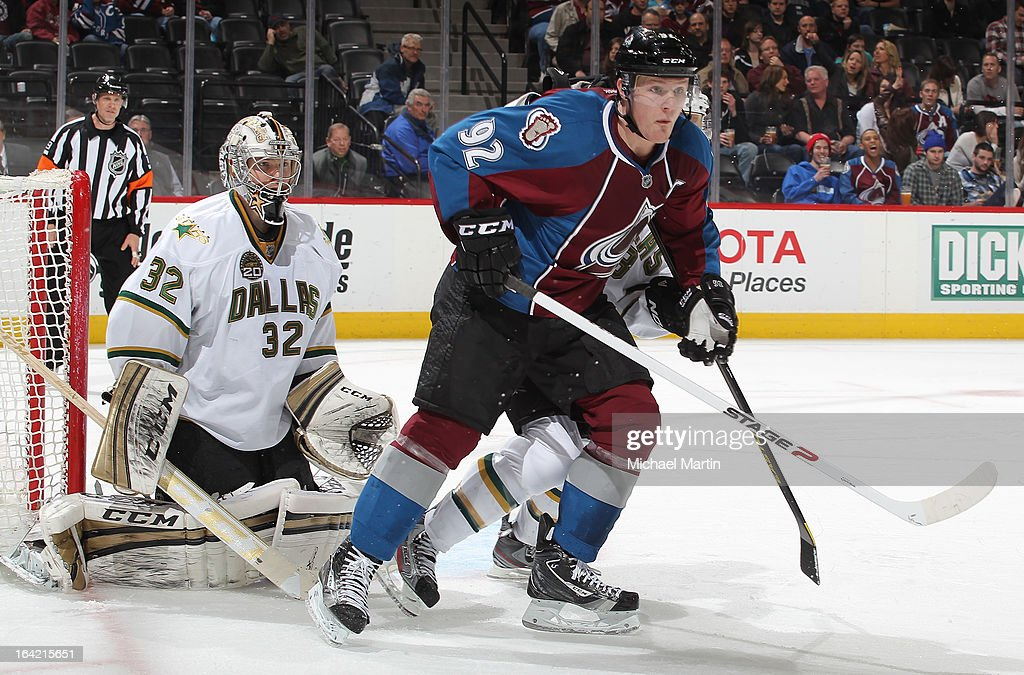 <a gi-track='captionPersonalityLinkClicked' href=/galleries/search?phrase=Gabriel+Landeskog&family=editorial&specificpeople=6590816 ng-click='$event.stopPropagation()'>Gabriel Landeskog</a> #92 of the Colorado Avalanche sets up in front of Goaltender <a gi-track='captionPersonalityLinkClicked' href=/galleries/search?phrase=Kari+Lehtonen&family=editorial&specificpeople=211612 ng-click='$event.stopPropagation()'>Kari Lehtonen</a> #32 of the Dallas Stars at the Pepsi Center on March 20, 2013 in Denver, Colorado. The Avalanche defeated the Stars 4-3.