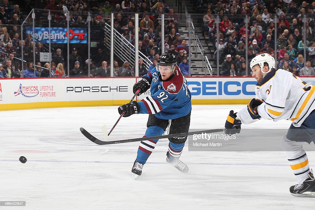 <a gi-track='captionPersonalityLinkClicked' href=/galleries/search?phrase=Gabriel+Landeskog&family=editorial&specificpeople=6590816 ng-click='$event.stopPropagation()'>Gabriel Landeskog</a> #92 of the Colorado Avalanche shoots against the Buffalo Sabres at the Pepsi Center on February 1, 2014 in Denver, Colorado. The Avalanche defeated the Sabres 7-1.
