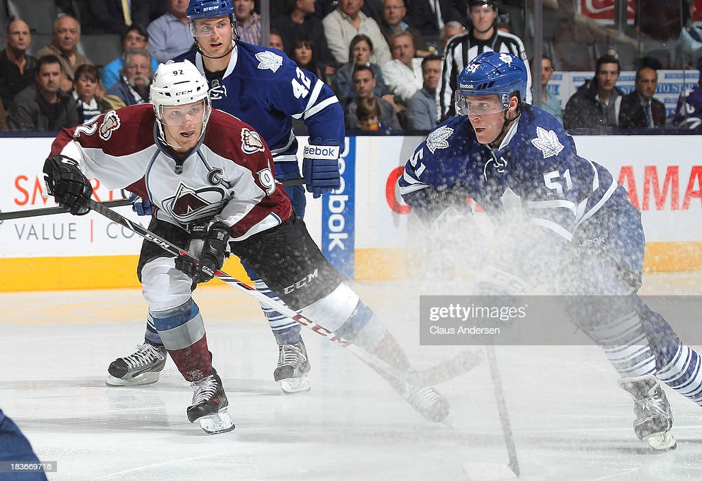 <a gi-track='captionPersonalityLinkClicked' href=/galleries/search?phrase=Gabriel+Landeskog&family=editorial&specificpeople=6590816 ng-click='$event.stopPropagation()'>Gabriel Landeskog</a> #92 of the Colorado Avalanche skates against <a gi-track='captionPersonalityLinkClicked' href=/galleries/search?phrase=Jake+Gardiner&family=editorial&specificpeople=4884939 ng-click='$event.stopPropagation()'>Jake Gardiner</a> #51 of the Toronto Maple Leafs during an NHL game at the Air Canada Centre on October 8, 2013 in Toronto, Ontario, Canada. The Avalanche defeated the Leafs 2-1.