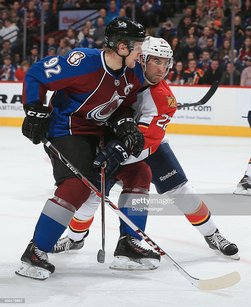 <a gi-track='captionPersonalityLinkClicked' href=/galleries/search?phrase=Gabriel+Landeskog&family=editorial&specificpeople=6590816 ng-click='$event.stopPropagation()'>Gabriel Landeskog</a> #92 of the Colorado Avalanche skates against <a gi-track='captionPersonalityLinkClicked' href=/galleries/search?phrase=Mike+Mottau&family=editorial&specificpeople=848917 ng-click='$event.stopPropagation()'>Mike Mottau</a> #22 of the Florida Panthers at Pepsi Center on November 16, 2013 in Denver, Colorado. The Panthers defeated the Avalanche 4-1.