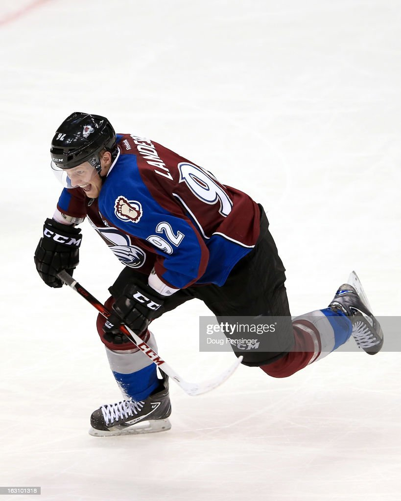 <a gi-track='captionPersonalityLinkClicked' href=/galleries/search?phrase=Gabriel+Landeskog&family=editorial&specificpeople=6590816 ng-click='$event.stopPropagation()'>Gabriel Landeskog</a> #92 of the Colorado Avalanche skates against the Calgary Flames at the Pepsi Center on February 28, 2013 in Denver, Colorado. The Avalanche defeated the Flames 5-4.