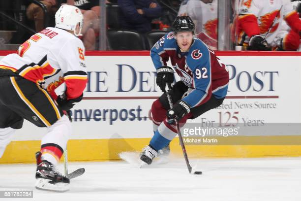 Gabriel Landeskog of the Colorado Avalanche skates against the Calgary Flames at the Pepsi Center on November 25 2017 in Denver Colorado