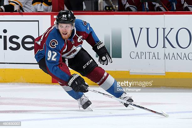 Gabriel Landeskog of the Colorado Avalanche skates against the Boston Bruins at Pepsi Center on October 14 2015 in Denver Colorado The Bruins...