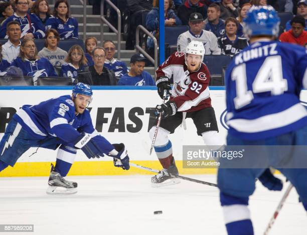 Gabriel Landeskog of the Colorado Avalanche skates against the Tampa Bay Lightning during the second period at Amalie Arena on December 7 2017 in...
