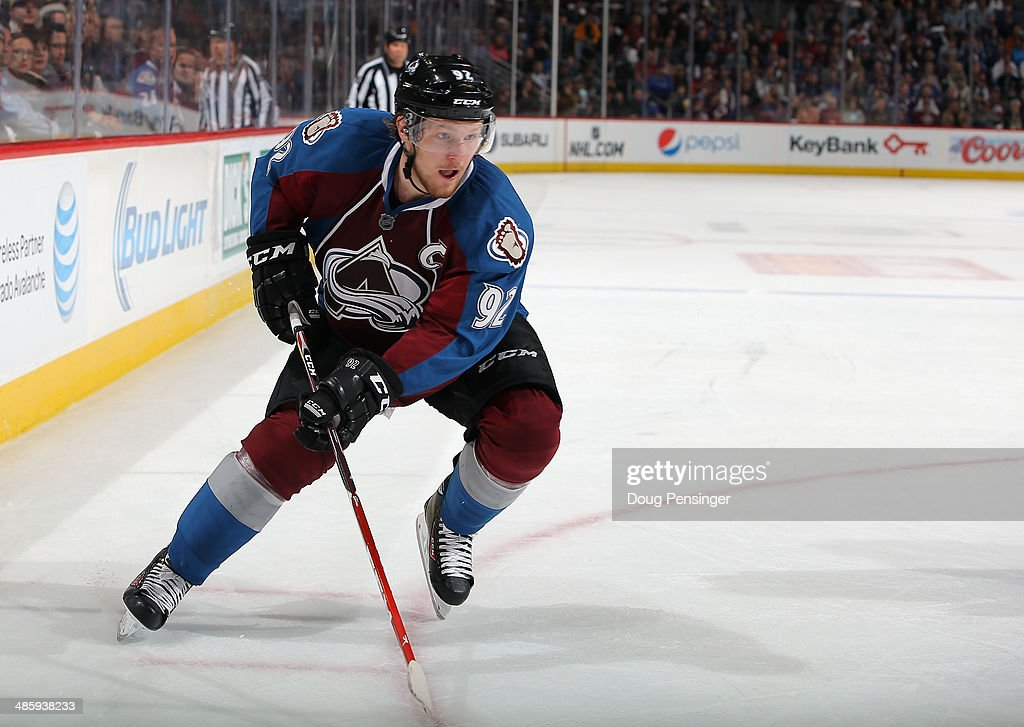 <a gi-track='captionPersonalityLinkClicked' href=/galleries/search?phrase=Gabriel+Landeskog&family=editorial&specificpeople=6590816 ng-click='$event.stopPropagation()'>Gabriel Landeskog</a> #92 of the Colorado Avalanche skates against the Minnesota Wild in Game Two of the First Round of the 2014 NHL Stanley Cup Playoffs at Pepsi Center on April 19, 2014 in Denver, Colorado. The Avalanche defeated the Wild 4-2 to take a 2-0 game lead in the series.