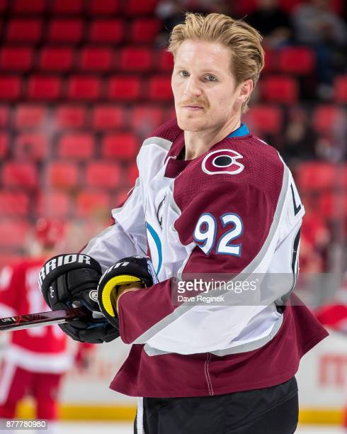 Gabriel Landeskog of the Colorado Avalanche skates in warmups prior to the NHL game at Little Caesars Arena on November 19 2017 in Detroit Michigan...