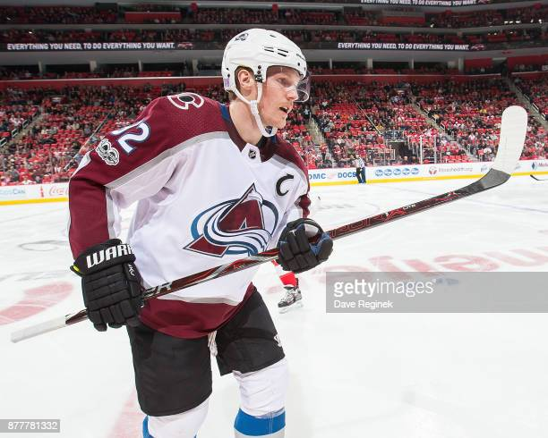 Gabriel Landeskog of the Colorado Avalanche skates to the bench on a line change during an NHL game against the Detroit Red Wings at Little Caesars...
